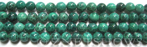 Fire agate fire crackled agate round Beads <b>10mm</b> dyed dark green color    per   <b> 8-in-str</b>