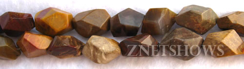 Other stone & material wood jasper, faceted nugget Beads <b>8-15x12-22mm </b> fossilized    per   <b> 8-in-str</b>