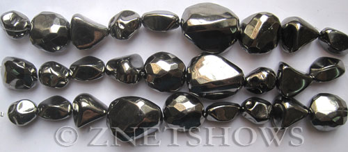 Other stone & material Acrylic-Metallic Gunmetal fancy nuggets Beads <b>varies</b>     per   <b> 8-in-str</b>
