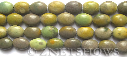 Other stone & material spring yellow jasper oval puffed Beads <b>14x10mm</b>     per   <b> 15.5-in-str</b>