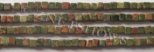 Other stone & material unakite cube Beads <b>4mm</b>     per   <b> 15.5-in-str</b>