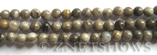 silver leaf  round Beads <b>6mm</b>     per   <b> 8-in-str</b>