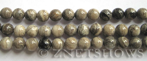 silver leaf  round Beads <b>8mm</b>     per   <b> 8-in-str</b>