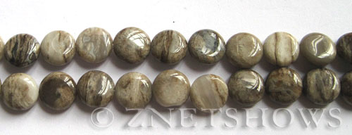 silver leaf  coin Beads <b>10mm</b>     per   <b> 8-in-str</b>