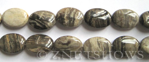 silver leaf  oval Beads <b>18x13mm</b>     per   <b> 8-in-str</b>