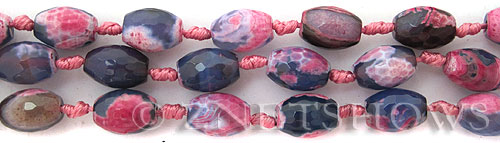 agate pink and blue barrel Beads <b>15x10mm</b>     per   <b> 17-pc-str</b>