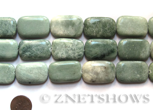 Other stone & material green line jasper rectangle puffed Pendants <b>about 29x19mm </b>     per   <b> 15.5-in-str </b>