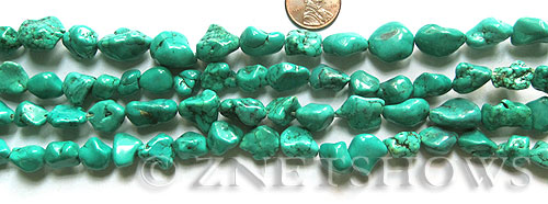 howlite magnesite turquoise green color nugget Beads <b>about 15x13mm-10x8mm</b>     per   <b> 15.5-in-str</b>