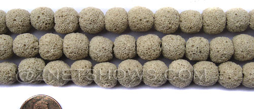lava dyed beige color round Beads <b>10mm</b>     per   <b> 8-in-str</b>
