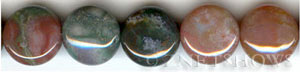 fancy jasper  coin puffed Beads <b>14mm</b>     per   <b> 16 Inch Strand</b>