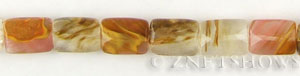 golden strawberry glass quartz faceted rectangle puffed Beads <b>12x16mm</b>  length-drilled   per   <b> 15.5-in-str</b>