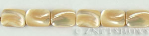 mother of pearl tan color rectangle puffed Beads <b>14x10mm</b>  length-drilled   per   <b> 15.5-in-str</b>