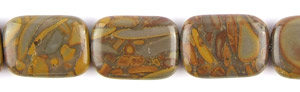 Other stone & material bamboo leaf jasper rectangle puffed Beads <b>25x18mm</b>  length-drilled   per   <b> about 8-in-str</b>