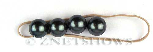 south sea shell pearl black color round Beads <b>12mm</b>  half drilled   per   <b> Pair</b>