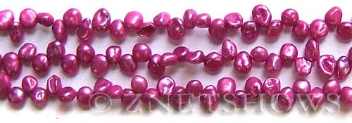 Freshwater Pearl dyed magenta color keshi Beads <b>about 7x5mm</b>     per   <b> 15-in-str</b>