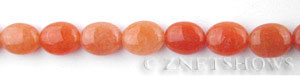 red aventurine  oval puffed Beads <b>10x8mm</b>  length-drilled   per   <b> 15.5-in-str</b>