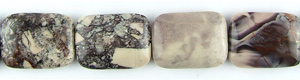 Other stone & material Porcelain jasper rectangle puffed Beads <b>25x18mm</b>  length-drilled   per   <b> 8-in-str</b>
