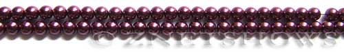 Glass Pearls <b>4mm</b> Round Wine Color K0294 (15.5-in-str)   per <b>5-str-hank</b>