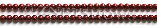 Glass Pearls <b>4mm</b> Round Red Color K0388 (15.5-in-str)   per <b>5-str-hank</b>
