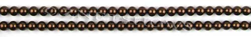 Glass Pearls <b>4mm</b> Round Brown Color K0396 (15.5-in-str)     per <b>5-str-hank</b>