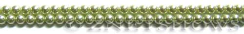 Glass Pearls <b>4mm</b> Round Baby Lime Color K0441 (15.5-in-str)   per <b>5-str-hank</b>
