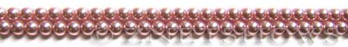 Glass Pearls <b>4mm</b> Round Pink Color K0502 (15.5-in-str)   per <b>5-str-hank</b>