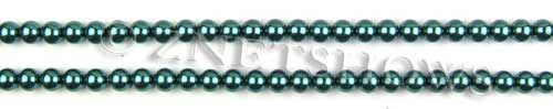 Glass Pearls <b>4mm</b> Round Teal Green Color K1182 (15.5-in-str)   per <b>5-str-hank</b>