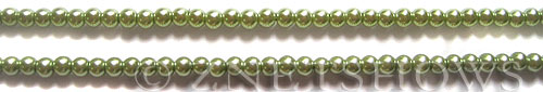 Glass Pearls <b>4mm</b> Round Olive Green K0668 (15.5-in-str)   per <b>5-str-hank</b>