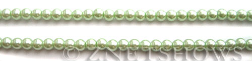 Glass Pearls <b>4mm</b> Round Light Vivid Green Color K0542 (15.5-in-str)   per <b>5-str-hank</b>