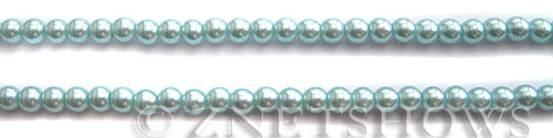Glass Pearls <b>4mm</b> Round Tender Blue Color K1069 (15.5-in-str)   per <b>5-str-hank</b>