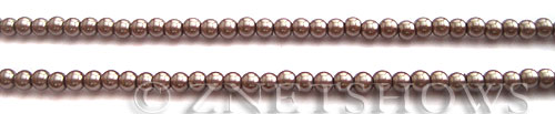Glass Pearls <b>4mm</b> Round Cocoa Color K1078 (15.5-in-str)   per <b>5-str-hank</b>