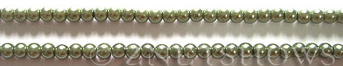 Glass Pearls <b>4mm</b> Round Autumn Green K0251 (15.5-in-str)   per <b>5-str-hank</b>
