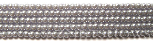 Glass Pearls <b>4mm</b> Round Pale Lilac K0041(15.5-in-str)    per <b>5-str-hank</b>