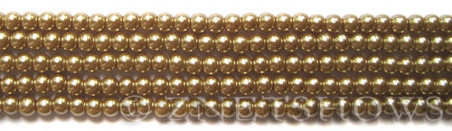 Glass Pearls <b>4mm</b> Round Khaki K0936(15.5-in-str)    per <b>5-str-hank</b>