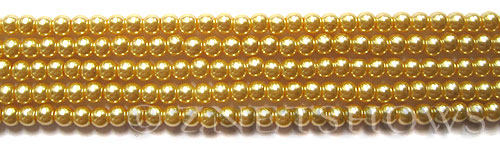 Glass Pearls <b>4mm</b> Round Champagne K1120(15.5-in-str)    per <b>5-str-hank</b>