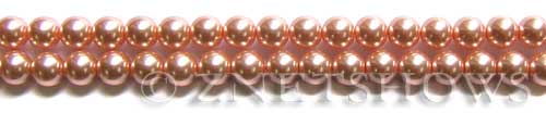Glass Pearls <b>6mm</b> Round Dusty Pink Color K0237 (15.5-in-str)   per <b>5-str-hank</b>