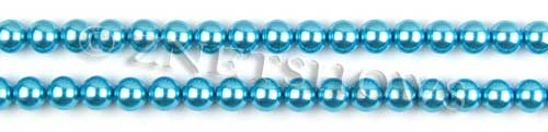 Glass Pearls <b>6mm</b> Round Blue Color K0246 (15.5-in-str)   per <b>5-str-hank</b>