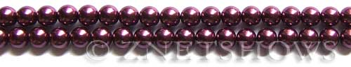 Glass Pearls <b>6mm</b> Round Wine Color K0294 (15.5-in-str)   per <b>5-str-hank</b>
