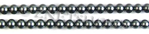 Glass Pearls <b>6mm</b> Round Dark Gray Color K0301 (15.5-in-str)   per <b>5-str-hank</b>