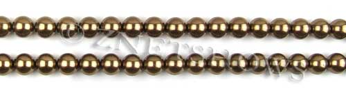Glass Pearls <b>6mm</b> Round Copper Color K0373 (15.5-in-str)   per <b>5-str-hank</b>