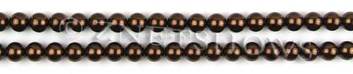 Glass Pearls <b>6mm</b> Round Brown Color K0396 (15.5-in-str)   per <b>5-str-hank</b>