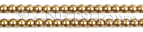 Glass Pearls <b>6mm</b> Round Golden Color K0520 (15.5-in-str)   per <b>5-str-hank</b>