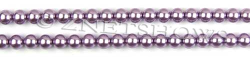 Glass Pearls <b>6mm</b> Round Orchid Color K0562 (15.5-in-str)   per <b>5-str-hank</b>