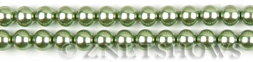 Glass Pearls <b>6mm</b> Round Olive Green K0668(15.5-in-str)   per <b>5-str-hank</b>