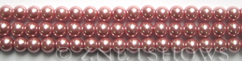 Glass Pearls <b>6mm</b> Round Rosy Pink Color K1092 (15.5-in-str)   per <b>5-str-hank</b>