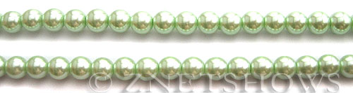 Glass Pearls <b>6mm</b> Round Light Vivid Green Color K0542 (15.5-in-str)   per <b>5-str-hank</b>