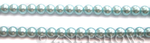 Glass Pearls <b>6mm</b> Round Tender Blue Color K1069 (15.5-in-str)   per <b>5-str-hank</b>