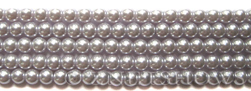 Glass Pearls <b>6mm</b> Round Pale Lilac K0041(15.5-in-str)    per <b>5-str-hank</b>