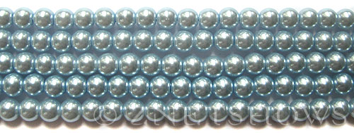 Glass Pearls <b>6mm</b> Round Blue Violet K0062(15.5-in-str)    per <b>5-str-hank</b>