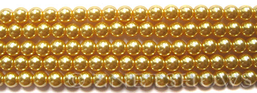 Glass Pearls <b>6mm</b> Round Champagne K1120(15.5-in-str)    per <b>5-str-hank</b>